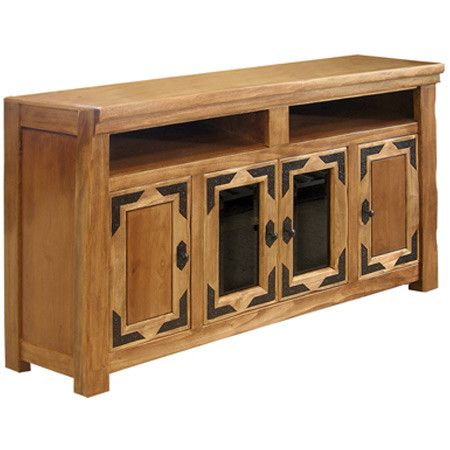 Indulge in Southwestern style for your den, bonus room, or living room with the lovely Albuquerque Media Console. Showcasing three cabinets and two shelves p...