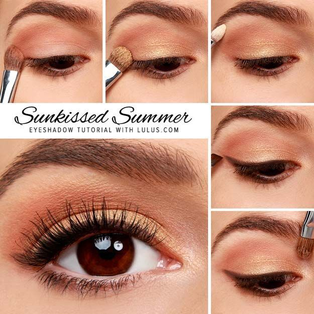 Best Eyeshadow Tutorials - Sunkissed Summer Gold Eyeshadow Tutorial - Easy Step by Step How To For Eye Shadow - Cool Makeup Tricks and Eye Makeup Tutorial With Instructions - Quick Ways to Do Smoky Eye, Natural Makeup, Looks for Day and Evening, Brown and Blue Eyes - Cool Ideas for Beginners and Teens http://diyprojectsforteens.com/best-eyeshadow-tutorials #naturalmakeuplooks