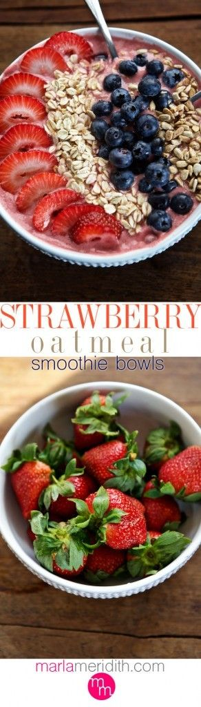 Strawberry Oatmeal Smoothie Bowl   Eat your smoothie with a spoon! MarlaMeridith.com ( @ marlameridith ) #vegan