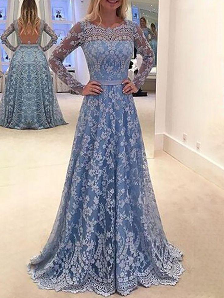 Shop Evening Dresses Elegant Open Back Pleated Lace Maxi Dress
