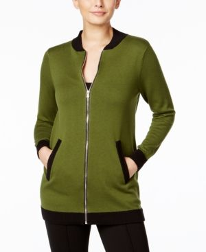 Ny Collection Long Knit Bomber Jacket - Green XL
