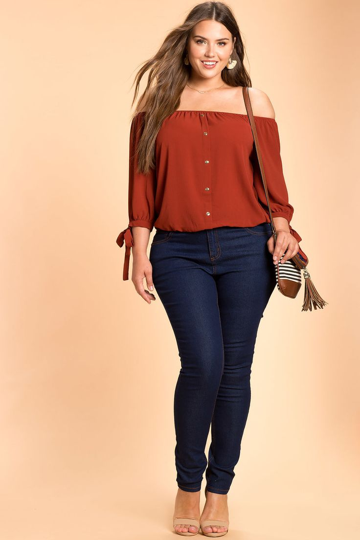 Women's Plus Size Blouses | Tie Sleeve Off Shoulder Top | A'GACI