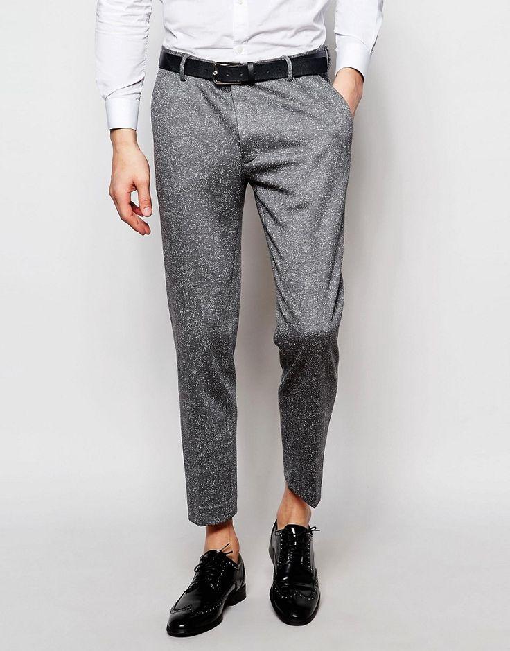 ASOS Skinny Cropped Suit Pants In Gray Fleck