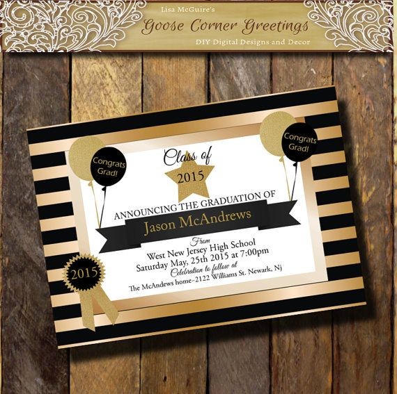65 best black and gold graduation party images on pinterest, Party invitations