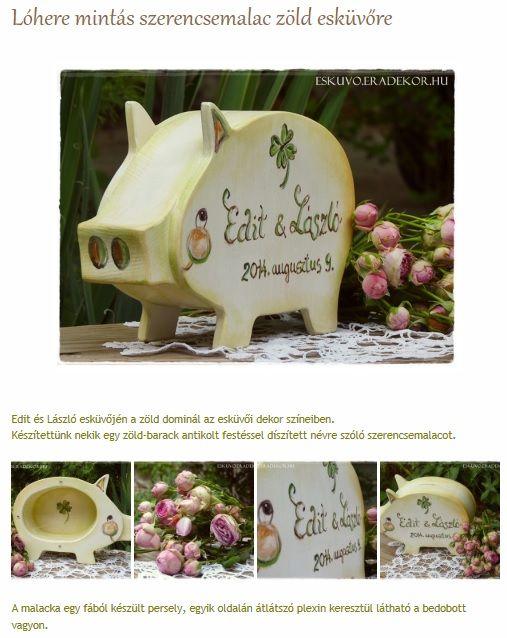 Négylevelű lóhere szerencsemalac zöld esküvőre. Nézd meg, katt az alábbi linkre >> http://eskuvo.eradekor.hu/lohere-szerencsemalac-zold-eskuvo/