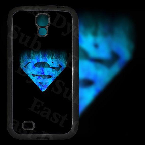 Superman Blue Sky Design on Samsung Galaxy S4 Black Rubber Silicone Case