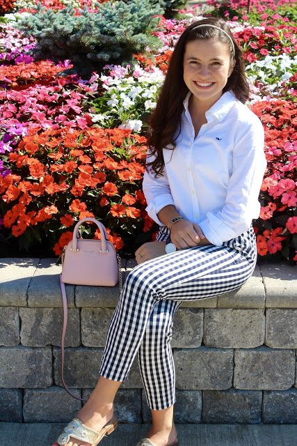 New England Classic Style | Black and white Houndstooth check crops | White Oxford shirt | Spring