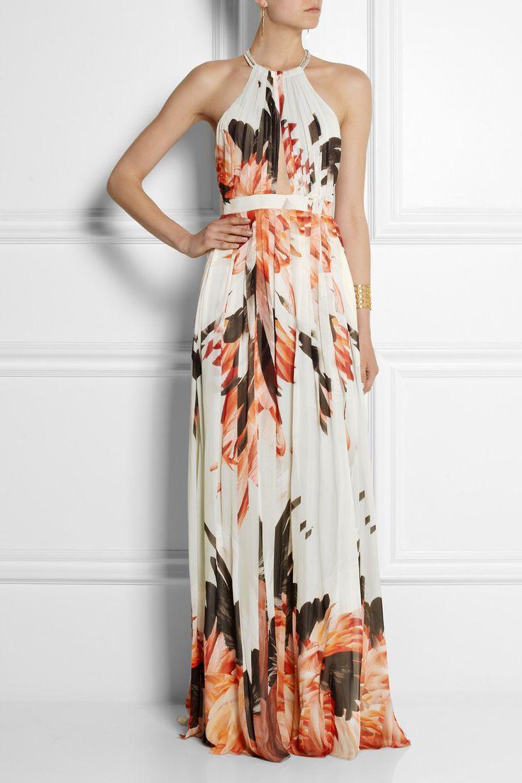 Roberto Cavalli|Printed silk-chiffon gown|NET-A-PORTER.COM