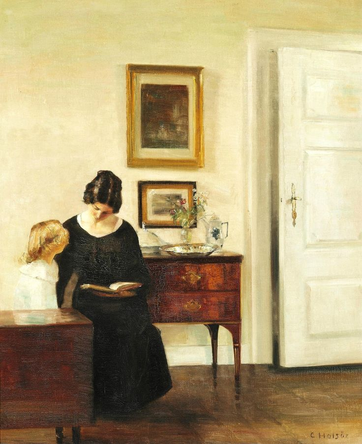 Интерьер с женой и дочерью художника_80 х 66_х.,м._Частное собрание Карл Вильхельм Холсё (Carl Vilhelm Holsøe), 1863-1935. Дания