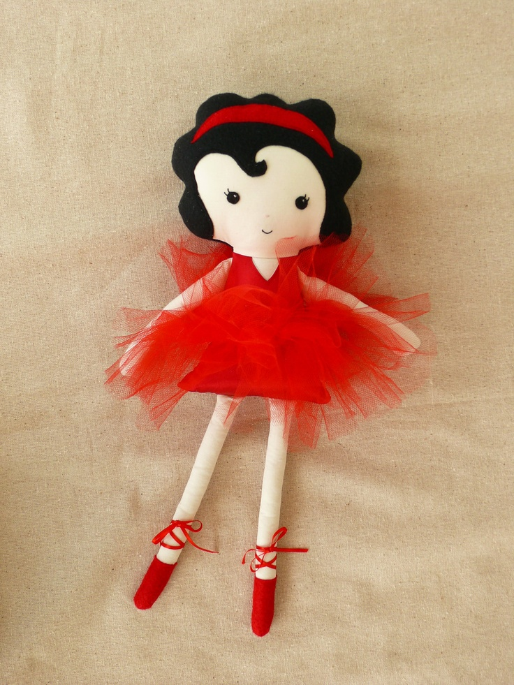 Fabric Doll Cloth Doll Ballerina in Red by rovingovine on Etsy