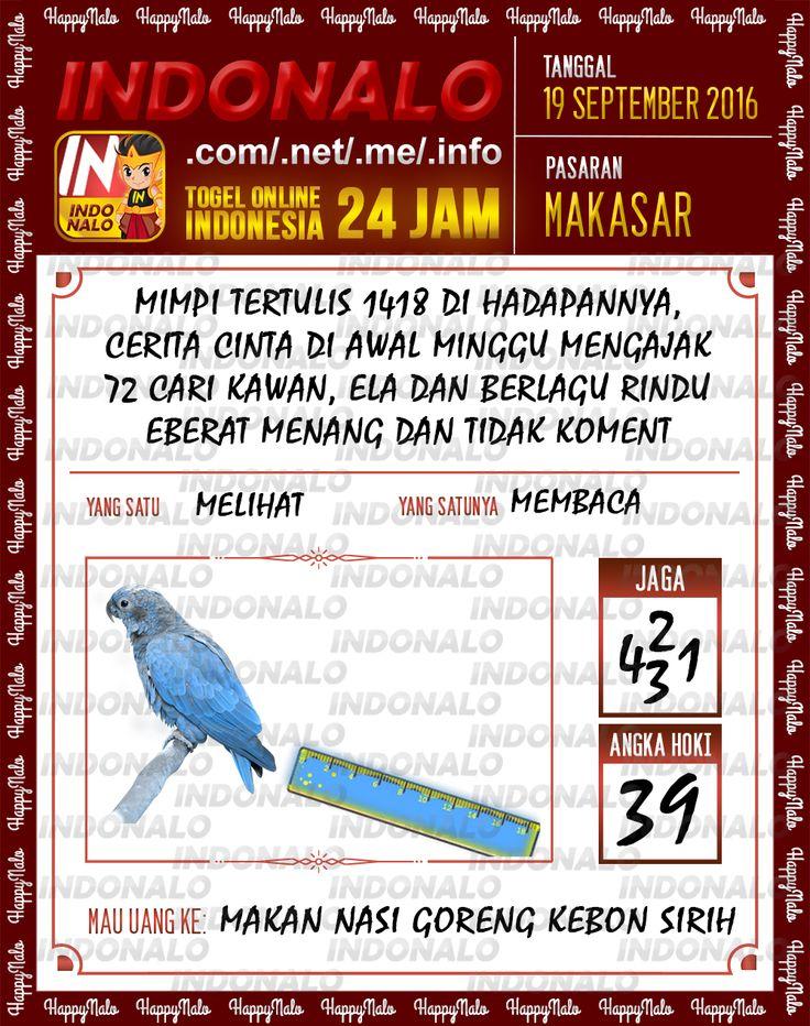 Angka Pakong Togel Wap Online Live Draw 4D Indonalo Makassar 19 September 2016