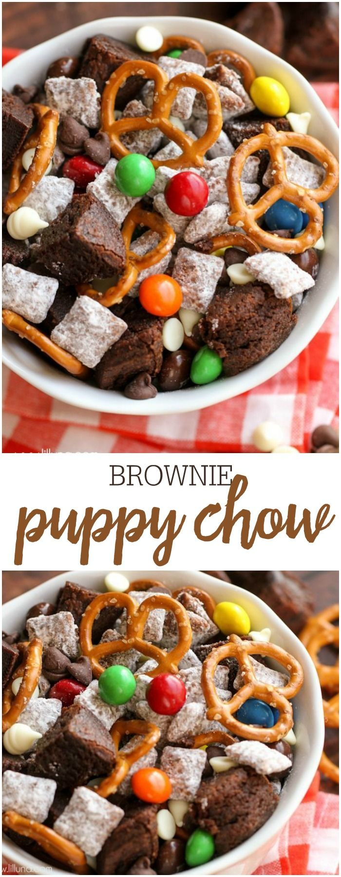 Brownie Puppy Chow Mix filled with brownie chunks, pretzels, peanut butter M&Ms, and white and milk chocolate chips!