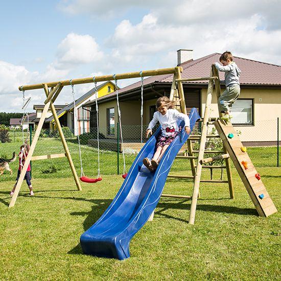 Lekestativ Big leveres med 2 husker, taustige og klatrevegg med steiner. Lekestativet passer for barn i alderen fra 3 år