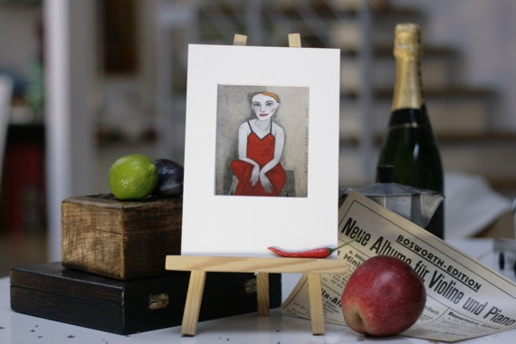 ACTRESS in a RED DRESS  print on paper by TwiggyStudio on Etsy, €15.00