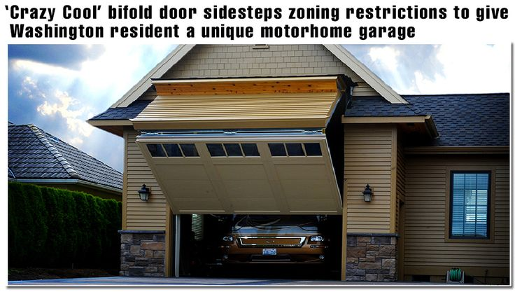 Regular look garage door opens to a motor home garage for How tall is a standard garage door