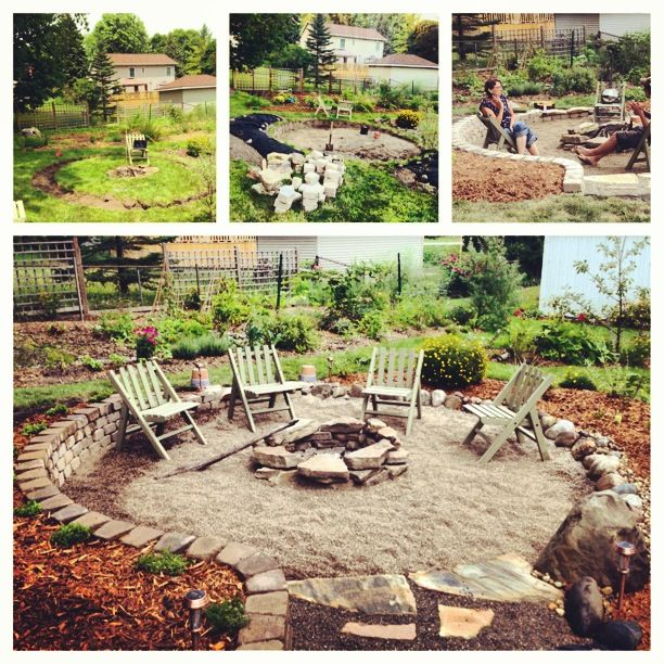Our new sunken fire pit with raised beds, pea stone, and sandstone