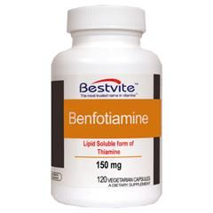 Benfotiamine 150mg supplement is used by diabetic patients. It also helps in nerve health, fibromyalgia and in improving blood pressure. It is also used in treating Alzheimer's disease.  Benfotiamine 150mg supplement from www.bestvite.com at very affordable prices.
