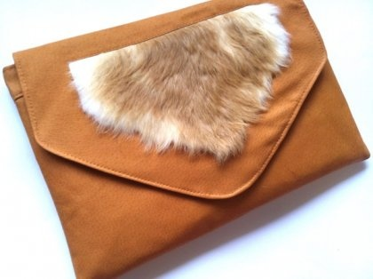 One-Off Rust Leather and Rabbit Fur Jumbo Envelope Clutch Bag