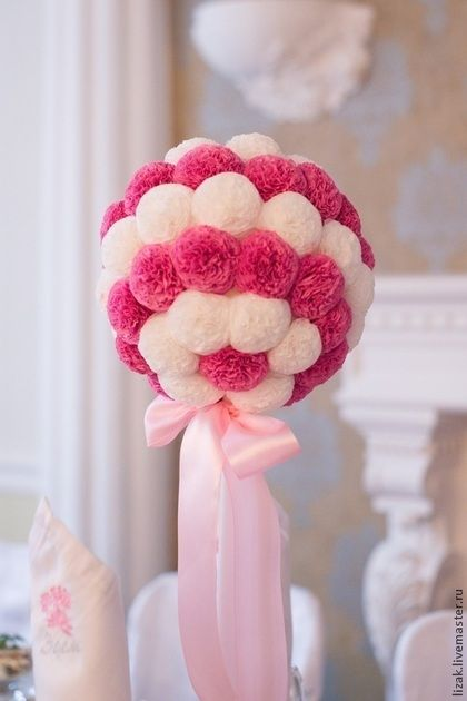 Топиарий - нежный цветок,комбинированный цвет,салфетка бумажная,горшочек