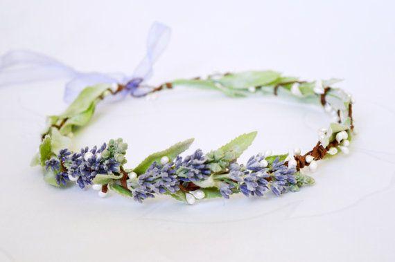 Lavender crown, Bridal hair wreath, Lilac halo, Purple headpiece, Rustic crown, Mint green lilac hair wreath,  Floral headband