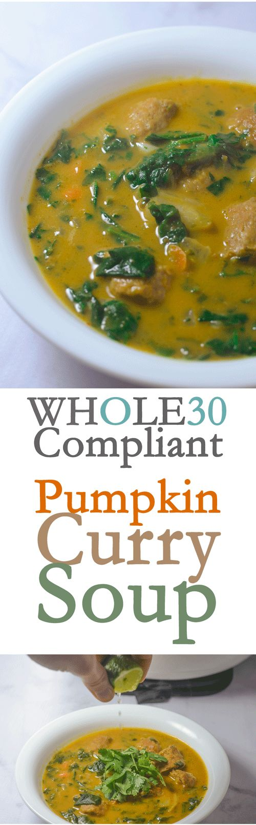 Super tasty Whole30 compliant pumpkin curry soup. Incredibly easy to make, takes under 30 minutes to make!