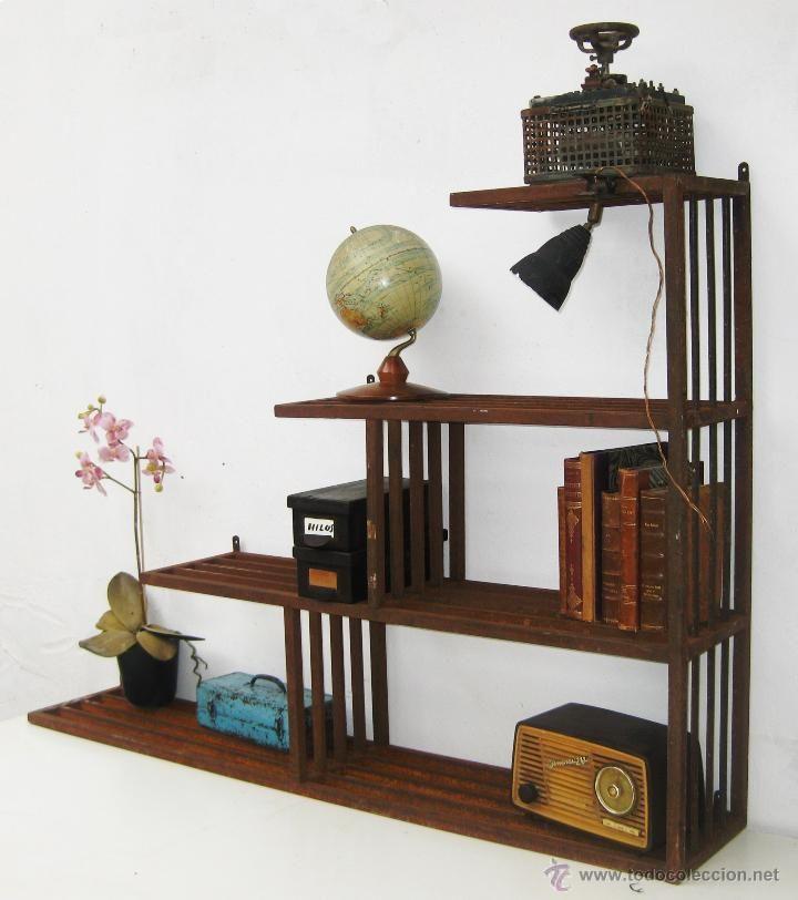 Bestial estanteria libreria antigua en hierro unica ideal - Decoracion industrial vintage ...