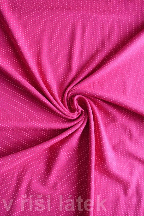 Finerib el. bavlna – tmavě růžový + potisk puntík - http://vrisilatek.cz/produkt/finerib-el-bavlna-tmave-ruzovy-potisk-puntik/