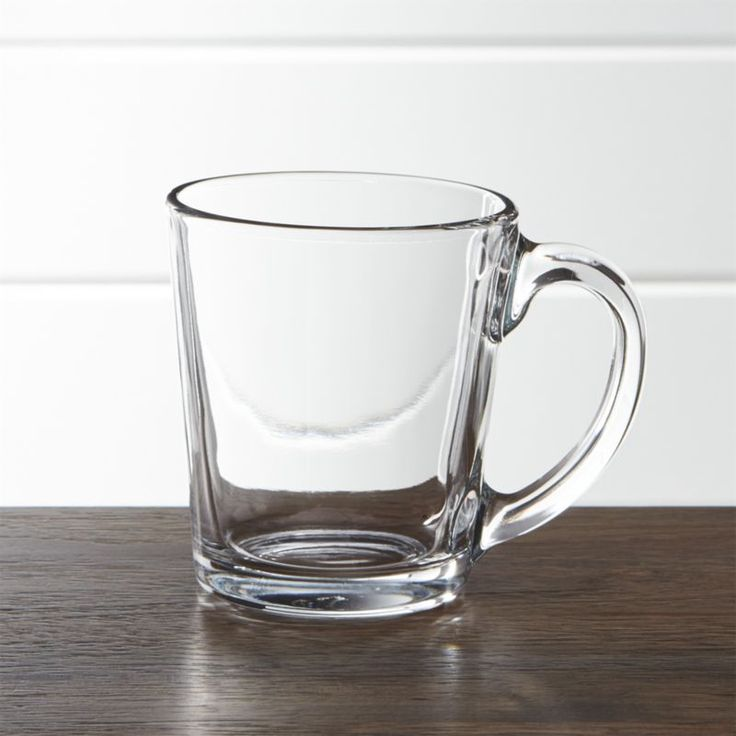 Shop Tempo Clear Glass Coffee Mug.  Simply styled clear glass coffee mugs work equally well with either of our clear glass dinnerware collections: square-shaped Tempo or round Moderno.