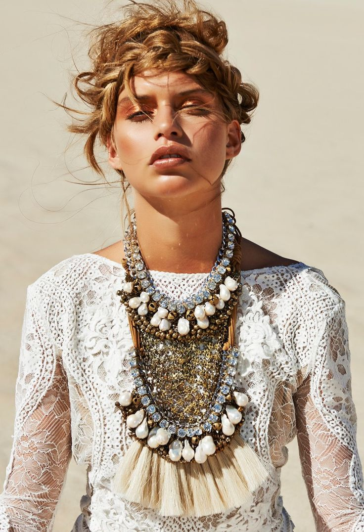 On the blog today - Mood Board: White. #desert #hair #lace #necklace #fringe