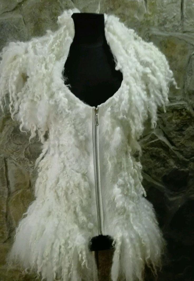 """Купить Валяный жилет из шерсти и флиса """"Алиса"""" - белый, жилет, валяный жилет, жилеты, жилетка"""