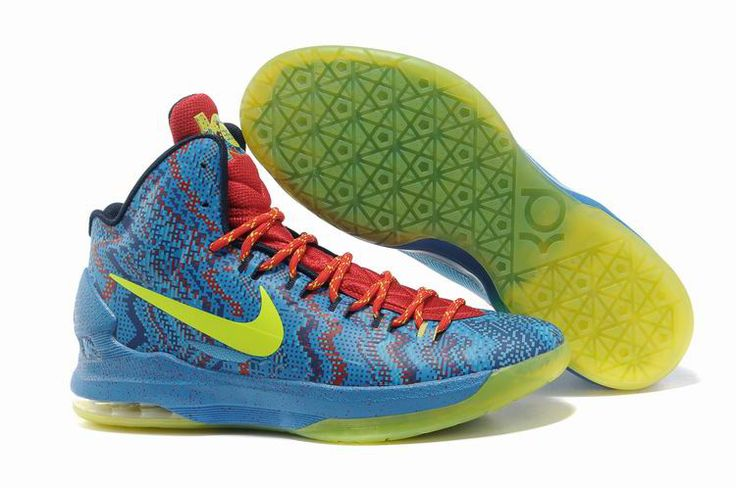 kevin durant shoes 2013 Nike KD V Hyper Blue Atomic Green Photo Blue  Challenge Red 554988