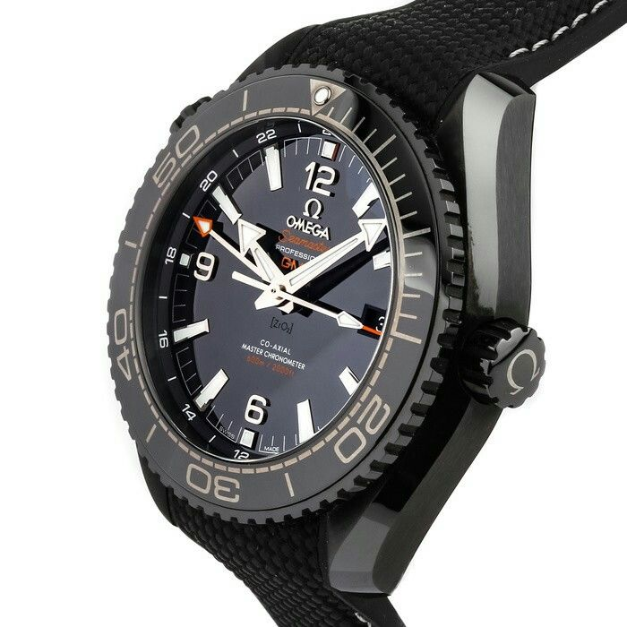 "Pre-Owned Omega Seamaster Planet Ocean ""Deep Black"" 600M Co-Axial Master Chronometer GMT (21592462201001)"