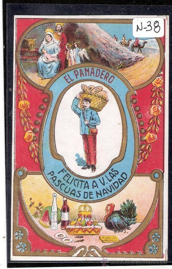 Felicitación antigua Navidad Oficios - EL PANADERO - Ver reverso - ( N-38 ) - Foto 1