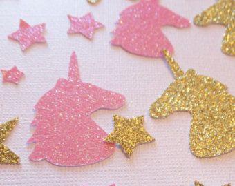Unicorn Birthday Straws  1 Doz.  Gold Glitter & Pink Stars