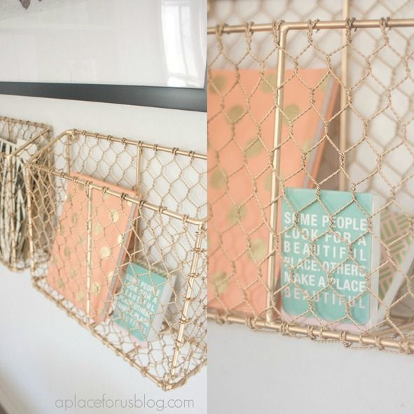 Gold Office Decor, world market file folder baskets sprayed gold.: