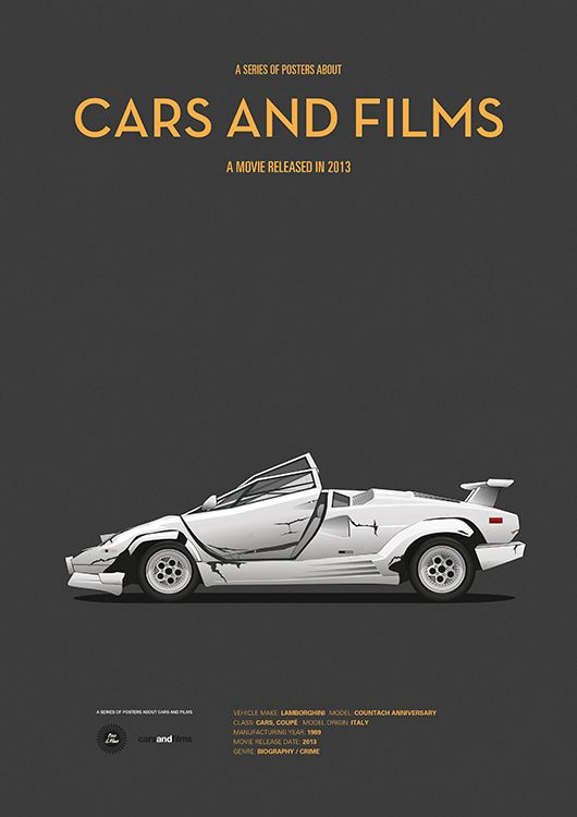 Poster of the car from Wolf of Wall Street. Illustration Jesús Prudencio. Cars And Films. #carsandfilms #jesusprudencio #wall street #print #wolf #movieposter #crashedcar #poster