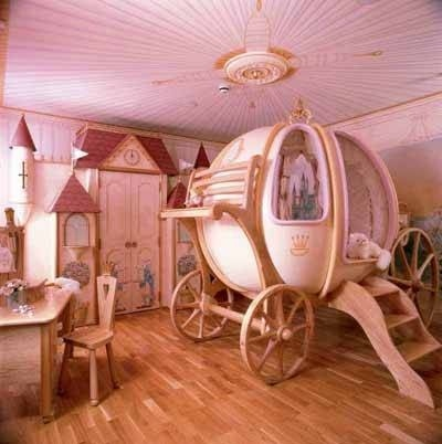Cinderella room - this is just way too much, but that might perfect. I think all children want fairy tale rooms.