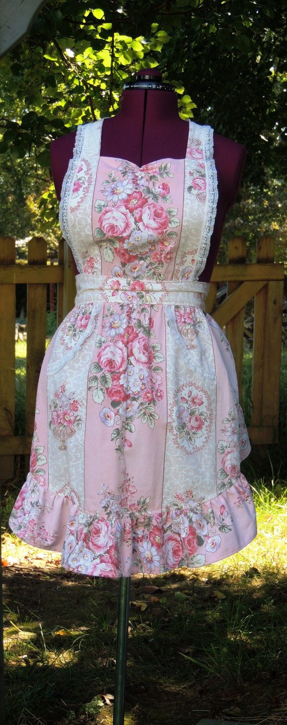 cottage chic apron  upcycled apron shabby by allthingsoldarenew, $39.00