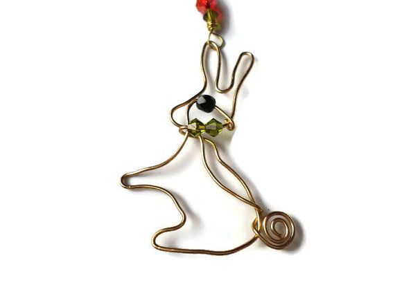 Rabbit Wire Pendant on a gold plated trace chain by BranchBeads