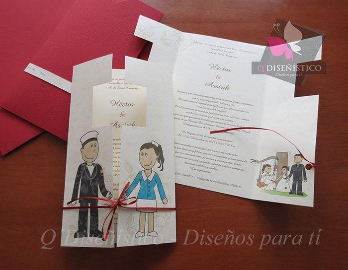 Parte de Matrimonio Personalizado con prefesiones de los novios https://disenoparati.wordpress.com/