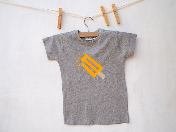 Children's T shirt Yellow Popsicle Print Ice Lolly melange grey  Kids shirt Boys Shirt Girls Shirt 100% cotton FREE SHIPPING World wide - $14.00