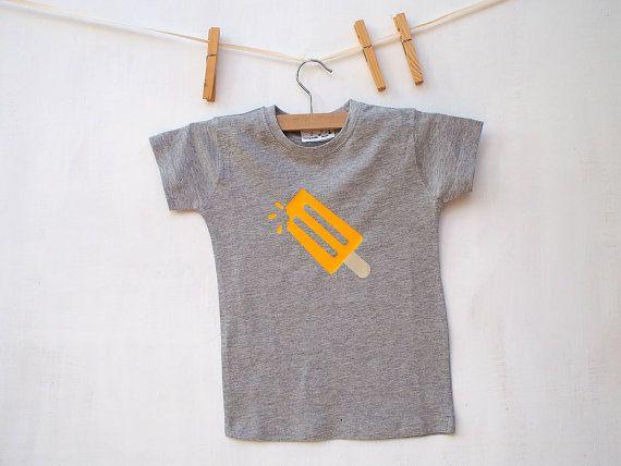 Children's T shirt Yellow Popsicle Print Ice Lolly melange grey  Kids shirt Boys Shirt Girls Shirt 100% cotton FREE SHIPPING World wide - $14.00