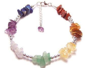 Chakra bracelet gemstone chips and Sterling silver