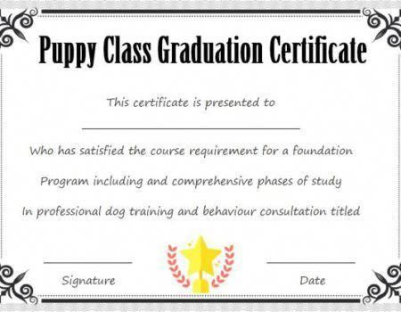 Puppy Class Graduation Certificate Template Puppy Classes