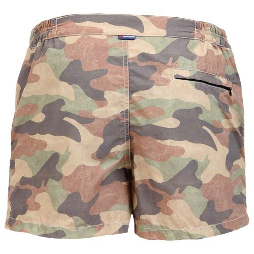 CAMO PRINT SWIM SHORTS Camouflage print HARRYS Swim Shorts. Two side pockets. Small front pocket with Saint Barth embroidery on the flap, and concealed snap button. Zippered back pocket. MC2 Saint Barth brand patch on waist to the reverse. Zipper and magnetic closure with interior button. Semi-elastic waistband with elastic inserts at lateral side. Internal net. COMPOSITION: 100% NYLON. Model wears size M, he is 189 cm tall and weighs 86 Kg.
