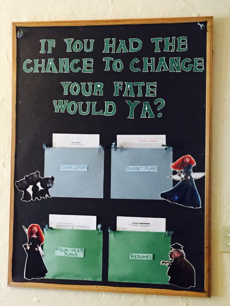 """Responsibility RA bulletin board: Disney's Brave """"If you had the chance to change your fate, would ya?"""" Sample resumes, cover letters, budget plans, and 4 year plans for residents to take charge of their """"fate""""!"""