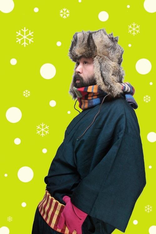 Men's winter fashion, Japan. Silk haori (jacket), hand-woven belt and scarf
