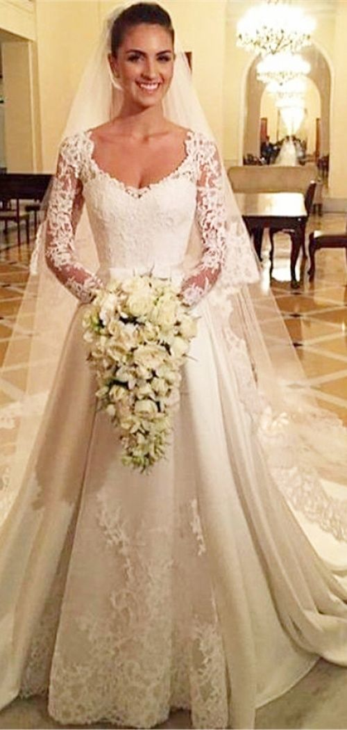 A-line Satin Long Sleeves Buttons Lace Chapel Train Wedding Dress