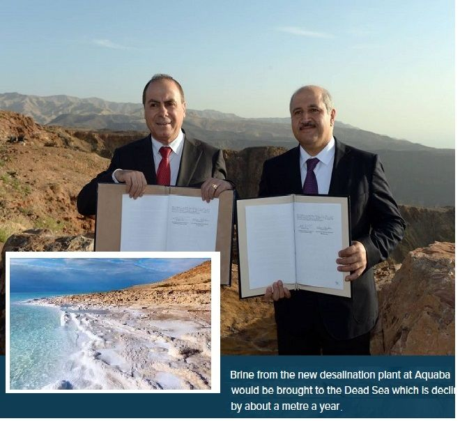 Jordan & Israel sign joint venture to build Red-Sea water pipeline & desalination plant at Aquaba. http://www.reuters.com/article/us-mideast-economy-water-idUSKBN0LU23Z20150226/news/desalination-underpins-middle-east-water-pact