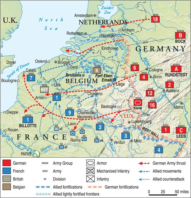 The swift German offensive codenamed Case Yellow drew French and British armies into Belgium with a feint as the main German thrust knifed through the rugged Ardennes Forest and threatened to cut off hundreds of thousands of soldiers. The Nazi dash to the English Channel capped a spectacularly executed movement.